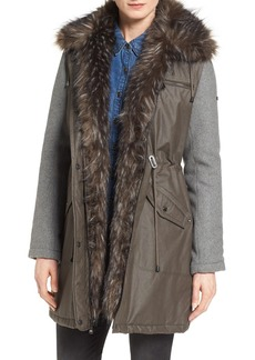 Laundry by Shelli Segal Mixed Media Anorak with Faux Fur Trim