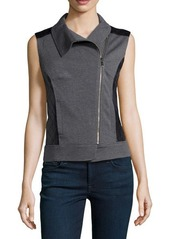 Laundry by Shelli Segal Mixed-Media Zip-Front Vest