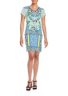 Laundry by Shelli Segal Mixed Print Shift Dress