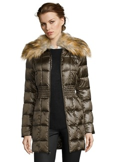 Laundry by Shelli Segal olive box quilted faux fur shawl...