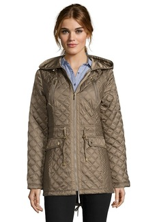 Laundry by Shelli Segal olive green diamond quilted draw...