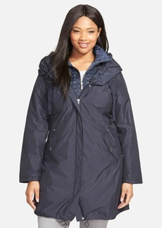 Laundry by Shelli Segal Pillow Collar Raincoat with Detachable Quilted Hooded Bib Insert (Plus Size)