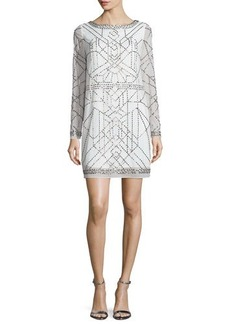 Laundry by Shelli Segal Platinum Long-Sleeve Beaded Cocktail Dress