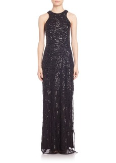 Laundry by Shelli Segal PLATINUM Sequined Column Gown
