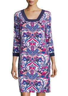 Laundry by Shelli Segal Printed 3/4-Sleeve Square-Neck Dress