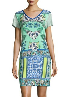 Laundry by Shelli Segal Printed Short-Sleeve V-Neck Sheath Dress