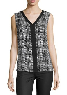 Laundry by Shelli Segal Printed V-Neck Sleeveless Blouse