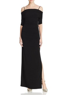 Laundry by Shelli Segal Ruched Cold-Shoulder Gown