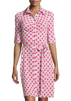 Laundry by Shelli Segal Ruched Printed Half-Sleeve Shirtdress