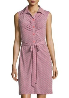 Laundry by Shelli Segal Ruched Printed Sleeveless Shirtdress