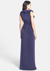 Laundry by Shelli Segal Ruffle Neck Flecked Jersey Gown