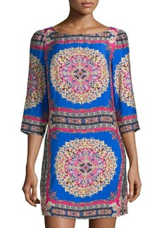 Laundry by Shelli Segal Scarf-Print 3/4-Sleeve Dress