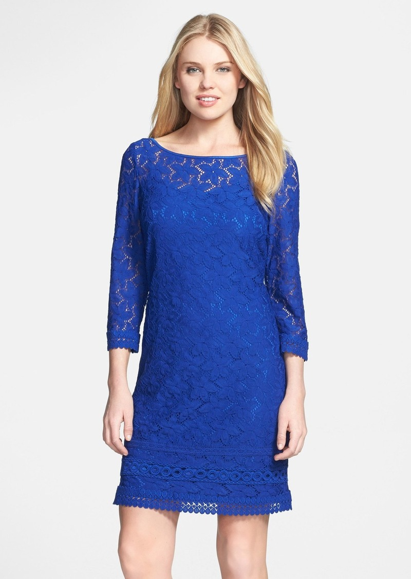 Laundry by Shelli Segal Scoop Back Lace Shift Dress