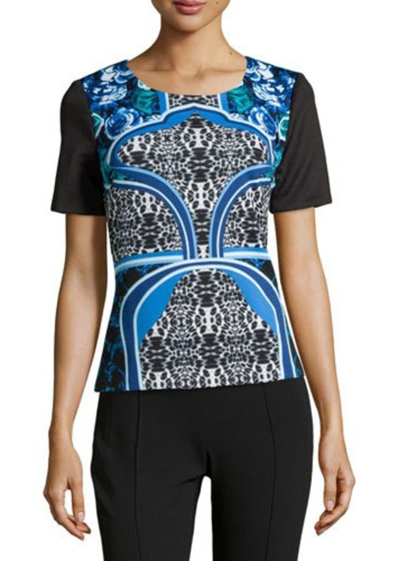 Laundry by Shelli Segal Scuba Jersey Mixed Print Top