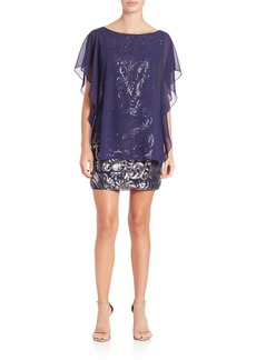Laundry by Shelli Segal Sequined Chiffon-Overlay Dress