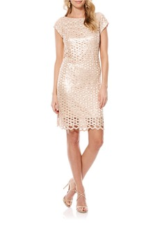 LAUNDRY BY SHELLI SEGAL Sequined Lattice Shift Dress
