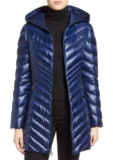 Laundry by Shelli Segal Side Panel Detail Hooded Down Coat