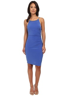 Laundry by Shelli Segal Side Shirred Jersey Cocktail Dress w/ Jeweled Straps