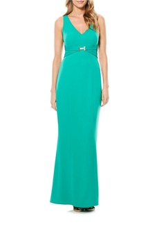 LAUNDRY BY SHELLI SEGAL Sleeveless Belted Gown
