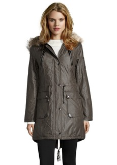 Laundry by Shelli Segal smokestone twill faux fur trim h...