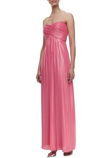 Laundry by Shelli Segal Strapless Ruched Crisscross Gown