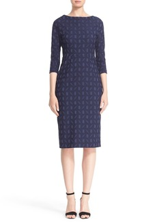 Lela Rose 'Audrey' Stretch Jacquard Sheath Dress