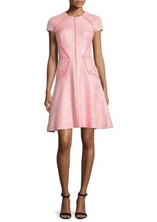 Lela Rose Blair Cap-Sleeve Sparkle Tweed Dress