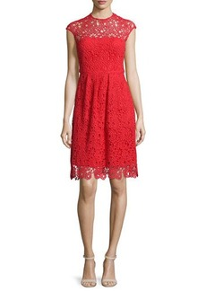 Lela Rose Cap-Sleeve Jewel-Neck Lace Dress