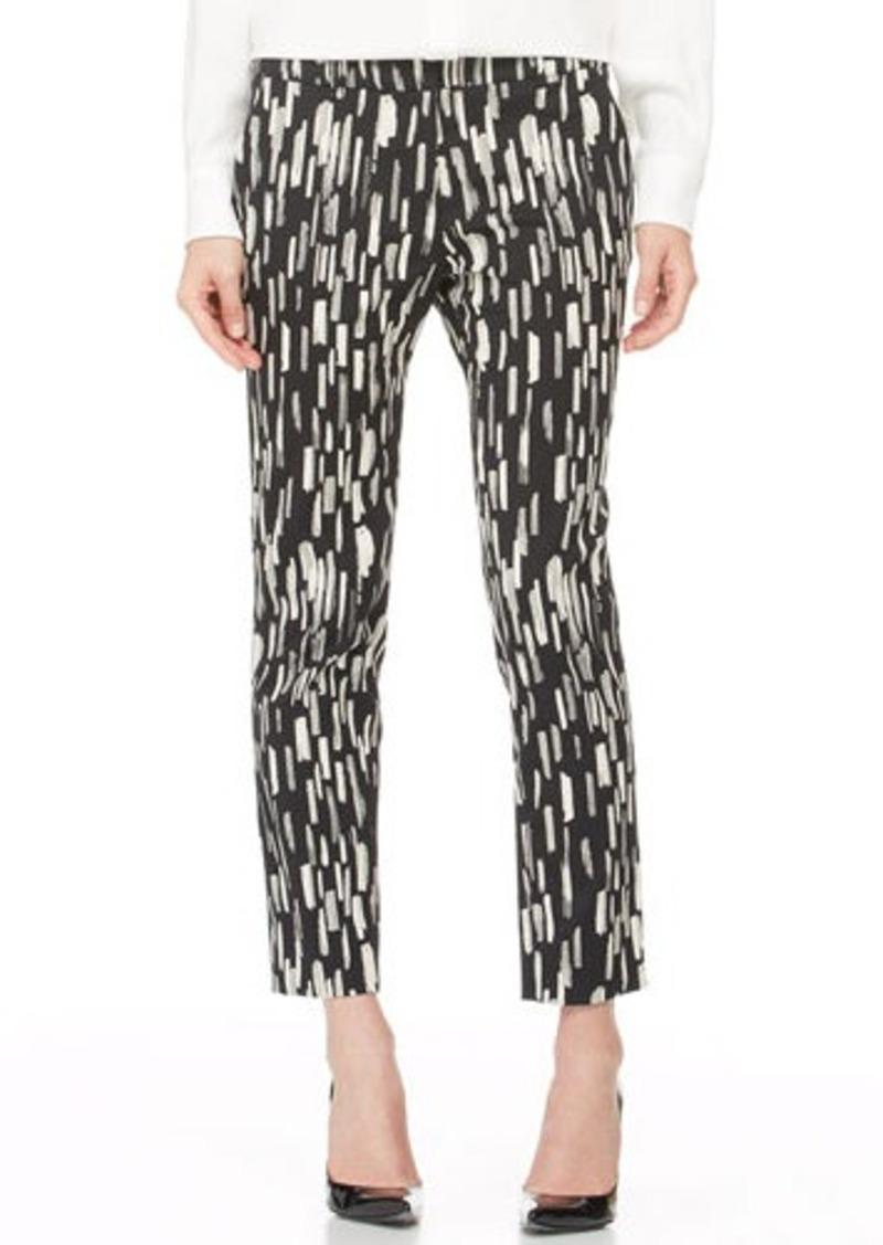Lela Rose Caroline Printed Ankle Pants, Black/Ivory
