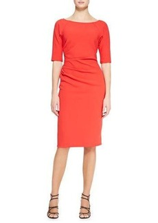 Lela Rose Deedie 3/4-Sleeve Side Ruched Dress