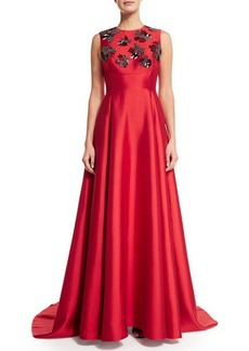 Lela Rose Embellished Sleeveless Gown W/Train