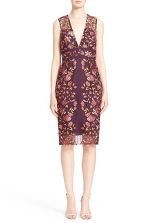 Lela Rose Embroidered Tulle V-Neck Sheath Dress