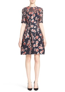 Lela Rose Floral Fil Coupé Dress