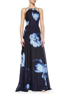 Lela Rose Floral Ikat-Print Strappy Gown  Floral Ikat-Print Strappy Gown