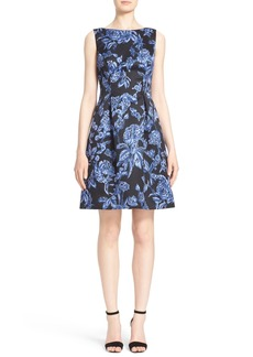 Lela Rose Floral Print Full Skirt Satin Sheath Dress