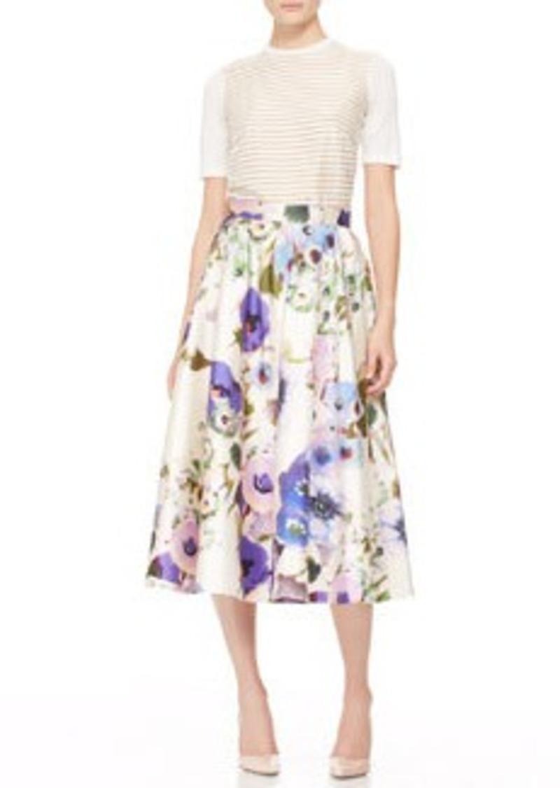 Lela Rose Full Floral Midi Skirt
