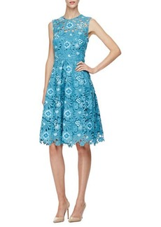 Lela Rose Grace Full-Skirt Floral Lace Dress