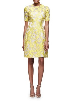 Lela Rose Holly Elbow-Sleeve Daisy-Print Dress