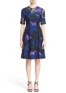 Lela Rose 'Holly' Leaf Fil Coupé Fit & Flare Dress