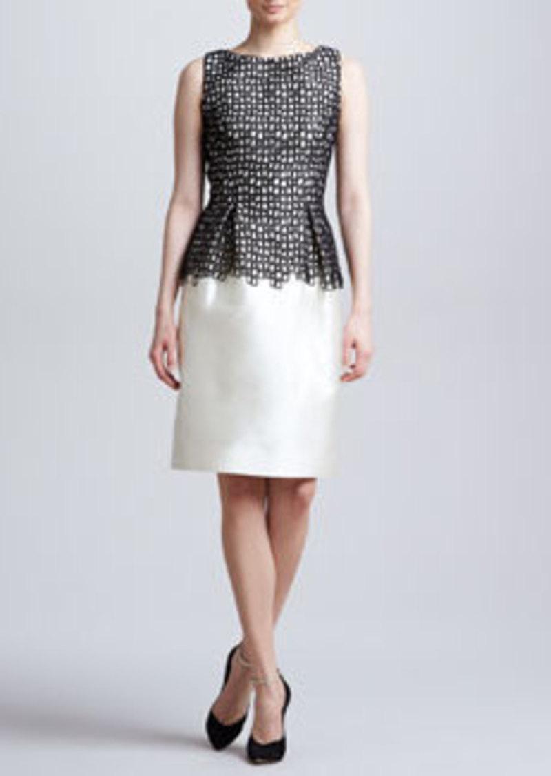 Lela Rose Lace-Bodice Sheath Dress