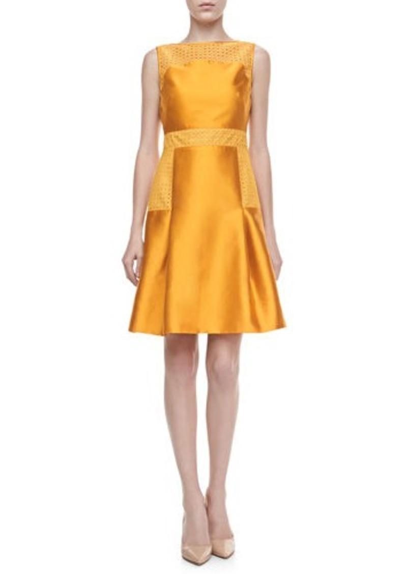 Lela Rose Lace-Trimmed Satin Dress, Marigold