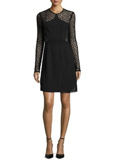 Lela Rose Long-Sleeve Embroidered-Dot Dress