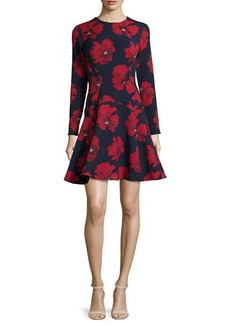 Lela Rose Long-Sleeve Fit-&-Flare Dress