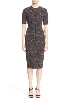 Lela Rose Seamed Jacquard Sheath Dress