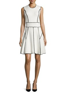 Lela Rose Sleeveless Contrast-Seam Dress