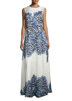 Lela Rose Sleeveless Feather-Print Silk Gown