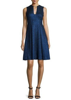 Lela Rose Sleeveless Metallic Fit-&-Flare Dress