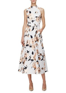 Lela Rose Sleeveless Metallic Floral-Print Dress