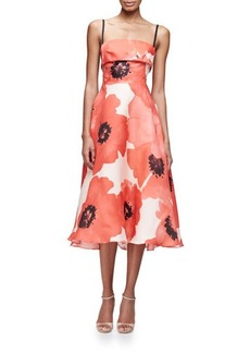 Lela Rose Sleeveless Oversize-Floral Midi Dress