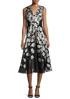 Lela Rose Sleeveless Stamped-Floral Dress